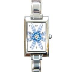 Blue Spirograph Pattern Circle Geometric Rectangle Italian Charm Watch by Nexatart