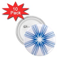 Blue Spirograph Pattern Circle Geometric 1 75  Buttons (10 Pack)
