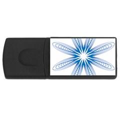 Blue Spirograph Pattern Circle Geometric Usb Flash Drive Rectangular (4 Gb) by Nexatart