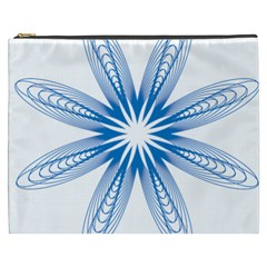 Blue Spirograph Pattern Circle Geometric Cosmetic Bag (xxxl)  by Nexatart