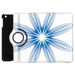 Blue Spirograph Pattern Circle Geometric Apple Ipad Mini Flip 360 Case by Nexatart