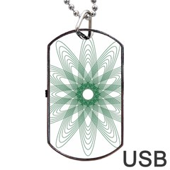 Spirograph Pattern Circle Design Dog Tag Usb Flash (one Side) by Nexatart