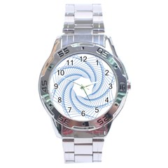 Spirograph Spiral Pattern Geometric Stainless Steel Analogue Watch by Nexatart