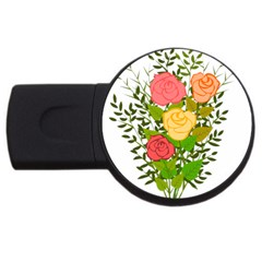 Roses Flowers Floral Flowery Usb Flash Drive Round (2 Gb) by Nexatart