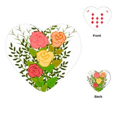 Roses Flowers Floral Flowery Playing Cards (heart)  by Nexatart