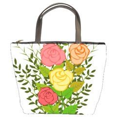 Roses Flowers Floral Flowery Bucket Bags by Nexatart