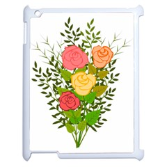 Roses Flowers Floral Flowery Apple Ipad 2 Case (white) by Nexatart