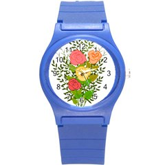 Roses Flowers Floral Flowery Round Plastic Sport Watch (s) by Nexatart