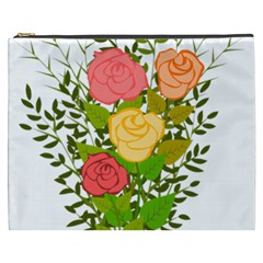 Roses Flowers Floral Flowery Cosmetic Bag (xxxl)  by Nexatart