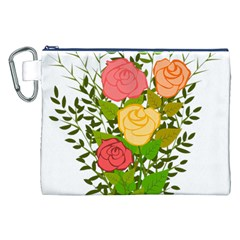 Roses Flowers Floral Flowery Canvas Cosmetic Bag (xxl) by Nexatart