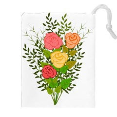 Roses Flowers Floral Flowery Drawstring Pouches (xxl) by Nexatart