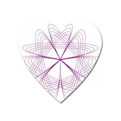 Purple Spirograph Pattern Circle Geometric Heart Magnet by Nexatart