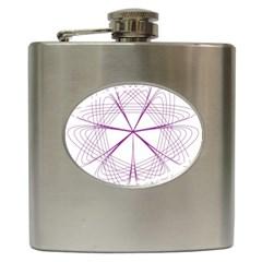 Purple Spirograph Pattern Circle Geometric Hip Flask (6 Oz) by Nexatart