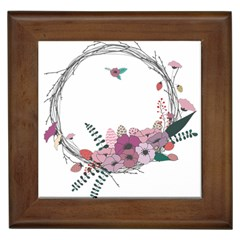Flowers Twig Corolla Wreath Lease Framed Tiles by Nexatart