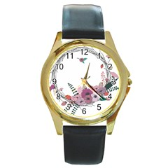 Flowers Twig Corolla Wreath Lease Round Gold Metal Watch by Nexatart