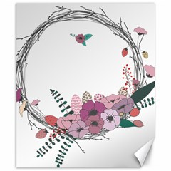 Flowers Twig Corolla Wreath Lease Canvas 8  X 10  by Nexatart