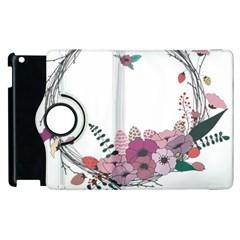 Flowers Twig Corolla Wreath Lease Apple Ipad 2 Flip 360 Case by Nexatart