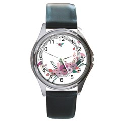 Flowers Twig Corolla Wreath Lease Round Metal Watch by Nexatart