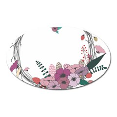 Flowers Twig Corolla Wreath Lease Oval Magnet by Nexatart