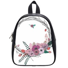 Flowers Twig Corolla Wreath Lease School Bags (small)  by Nexatart