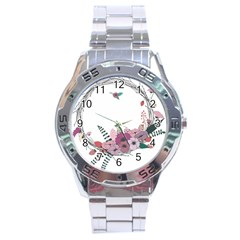 Flowers Twig Corolla Wreath Lease Stainless Steel Analogue Watch by Nexatart