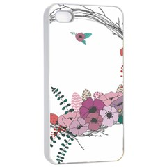 Flowers Twig Corolla Wreath Lease Apple Iphone 4/4s Seamless Case (white) by Nexatart