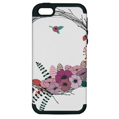 Flowers Twig Corolla Wreath Lease Apple Iphone 5 Hardshell Case (pc+silicone) by Nexatart