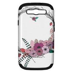 Flowers Twig Corolla Wreath Lease Samsung Galaxy S Iii Hardshell Case (pc+silicone) by Nexatart