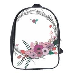 Flowers Twig Corolla Wreath Lease School Bags (xl)  by Nexatart