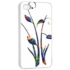 Flora Abstract Scrolls Batik Design Apple Iphone 4/4s Seamless Case (white) by Nexatart
