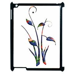 Flora Abstract Scrolls Batik Design Apple Ipad 2 Case (black) by Nexatart