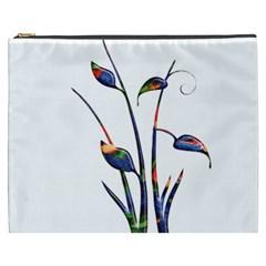 Flora Abstract Scrolls Batik Design Cosmetic Bag (xxxl)  by Nexatart