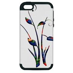 Flora Abstract Scrolls Batik Design Apple Iphone 5 Hardshell Case (pc+silicone) by Nexatart