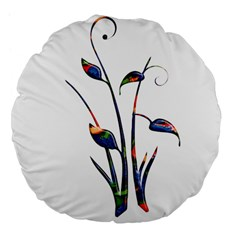 Flora Abstract Scrolls Batik Design Large 18  Premium Flano Round Cushions by Nexatart