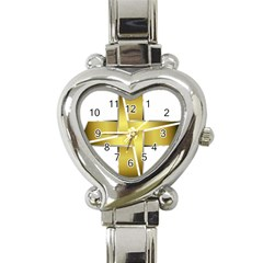 Logo Cross Golden Metal Glossy Heart Italian Charm Watch by Nexatart