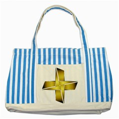 Logo Cross Golden Metal Glossy Striped Blue Tote Bag by Nexatart