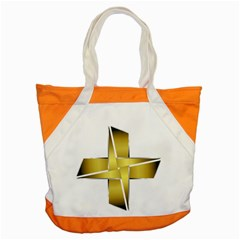 Logo Cross Golden Metal Glossy Accent Tote Bag by Nexatart