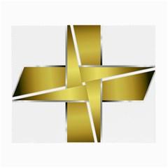 Logo Cross Golden Metal Glossy Small Glasses Cloth (2 Side) by Nexatart