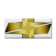 Logo Cross Golden Metal Glossy Cosmetic Storage Cases by Nexatart