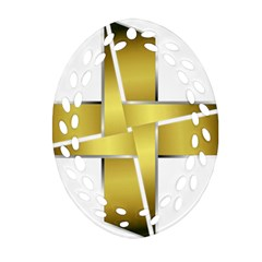 Logo Cross Golden Metal Glossy Oval Filigree Ornament (two Sides) by Nexatart