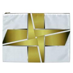 Logo Cross Golden Metal Glossy Cosmetic Bag (xxl)  by Nexatart
