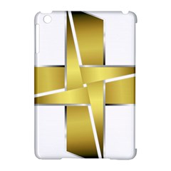 Logo Cross Golden Metal Glossy Apple Ipad Mini Hardshell Case (compatible With Smart Cover) by Nexatart