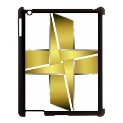 Logo Cross Golden Metal Glossy Apple Ipad 3/4 Case (black) by Nexatart