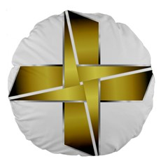 Logo Cross Golden Metal Glossy Large 18  Premium Flano Round Cushions by Nexatart