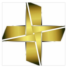 Logo Cross Golden Metal Glossy Large Satin Scarf (square) by Nexatart