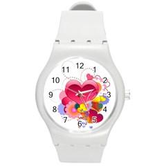 Heart Red Love Valentine S Day Round Plastic Sport Watch (m) by Nexatart