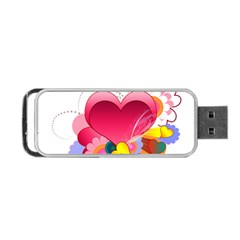 Heart Red Love Valentine S Day Portable Usb Flash (one Side) by Nexatart