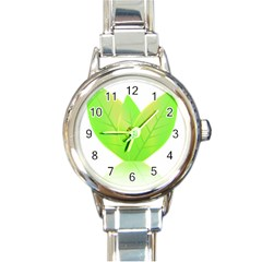Leaves Green Nature Reflection Round Italian Charm Watch by Nexatart