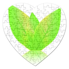 Leaves Green Nature Reflection Jigsaw Puzzle (heart) by Nexatart