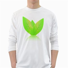 Leaves Green Nature Reflection White Long Sleeve T Shirts by Nexatart